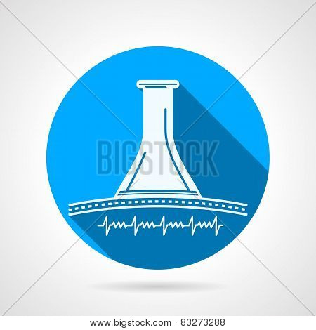 Round blue vector icon for obstetrics stethoscope