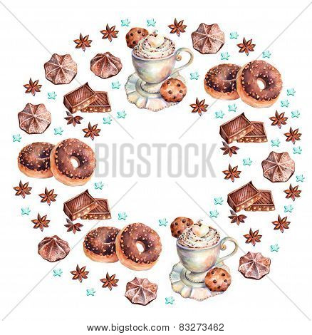 White cup of cappuccino with chocolate, chocolate donuts, marshmallows, chocolate cookies and anise