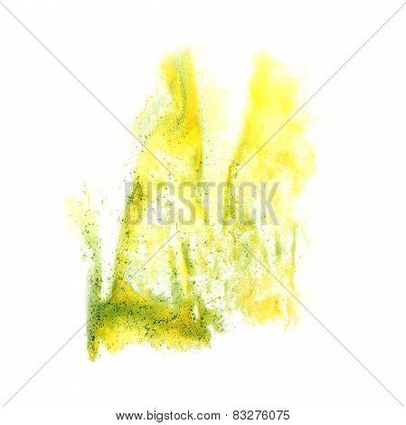 ink blot  green   splatter background isolated on white hand