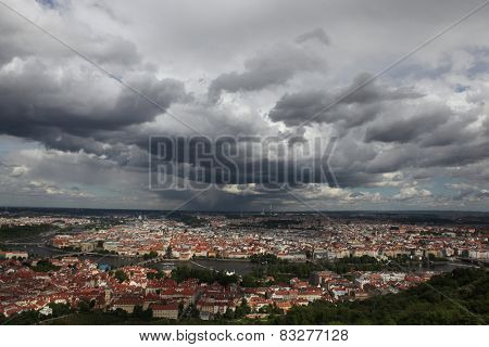Historical centre of Prague and the Vltava River viewed from the Petrin Lookout Tower in Prague, Czech Republic.