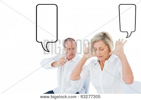 Older couple sitting in chairs arguing against speech bubble