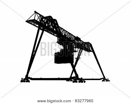 Container Bridge Gantry Crane. Black Silhouette