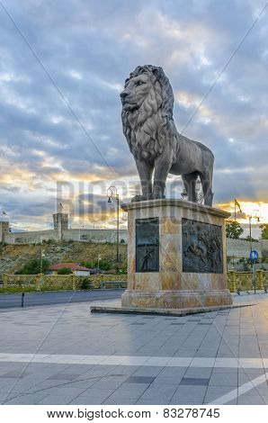 Lion monument with citadel in Skopje, Macedonia