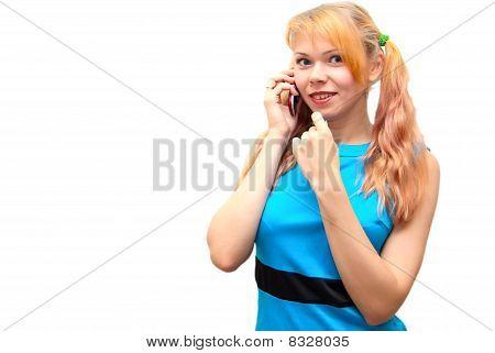 Pretty Blond Girl On Cellphone