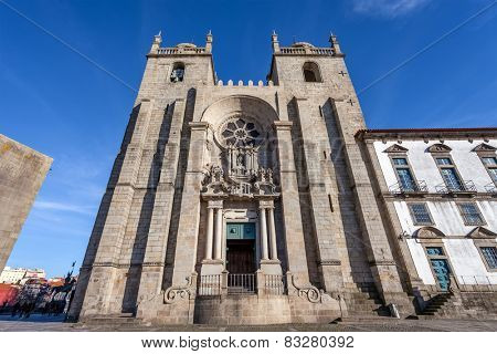 Porto Cathedral or Se Catedral do Porto. Romanesque and Gothic architecture. Unesco World Heritage Site