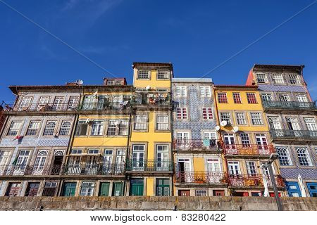 The typical colorful buildings of the Ribeira District in Porto, Portugal. Unesco World Heritage Site.