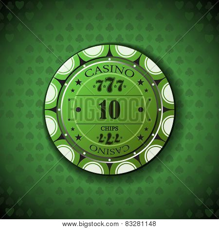 Poker Chip Nominal Ten, On Card Symbol Background