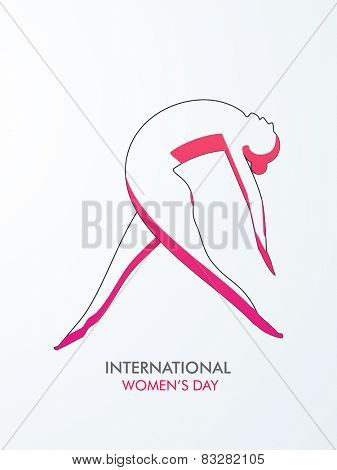 International Women's Day celebration with illustration of a young lady in dancing pose on grey background.