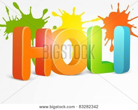 Indian festival of colors celebration with glossy 3D text Holi on splash background.