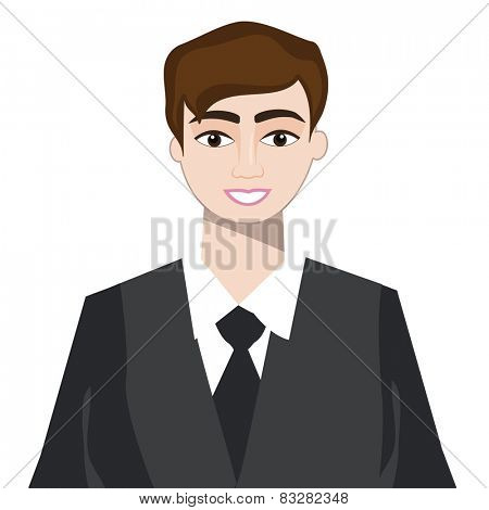 Young smiling businessman in formal dress on white background.