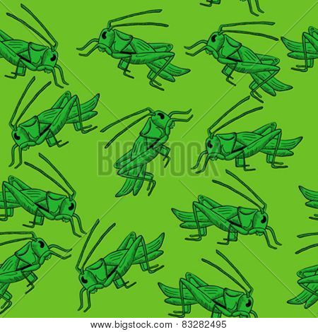 grasshopper seamless pattern cartoon illustration