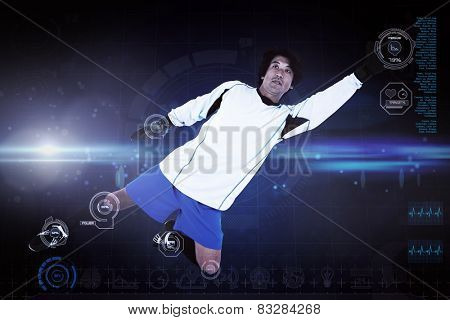 Goal keeper against blue dots on black background