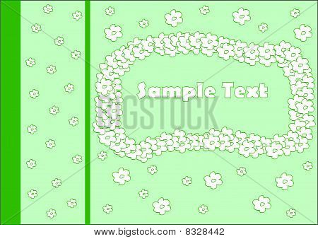 Green greeting card with white flowers