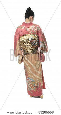 A Beautiful japanese kimono woman in white background
