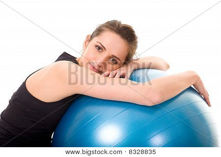 Young, Very Attractive Female With Blue Fitness Ball, Isolated On White