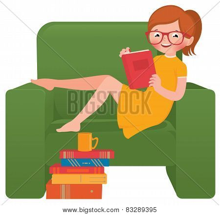 Girl Reading A Book Sitting In A Chair