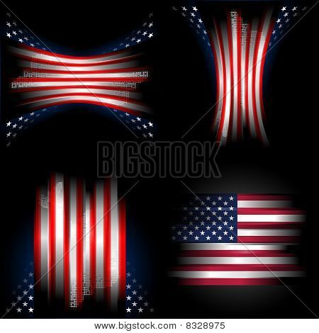 Stars And Stripes American Flag Set, Illustration