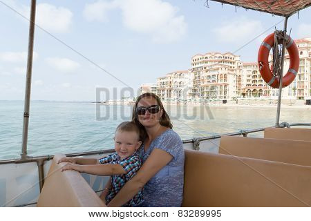 Mother And Son In Ship