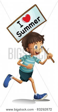 Illustration of I love Summer sign