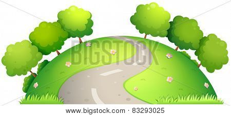Illustration of a single road surrounded by nature