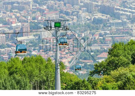 Aerial view of cable car on Vodno mountain