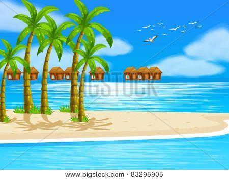 Illustration of beach view with bungalows