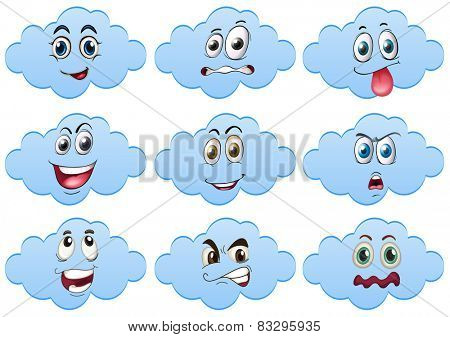 Illustration of clouds with facial expressions