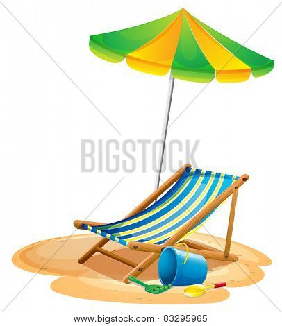 Illustration of a beach chair and an umbrella