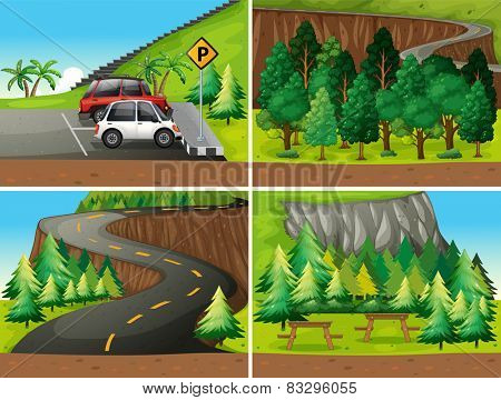 Illustration of four different scenes of parks and road trip