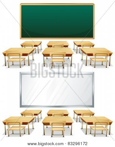 Illustration of two classrooms with boards