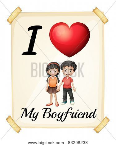 Illustration of I love my boyfriend sign