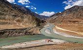 stock photo of jammu kashmir  - Scenic view of Confluence of Zanskar and Indus rivers  - JPG