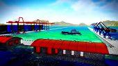 image of shipyard  - Shipyard illustration showing ship and cranes - JPG