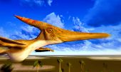 image of pterodactyl  - Flying pterodactyl over the land - JPG