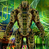 picture of cyborg  - Cyborg posing on technological background - JPG