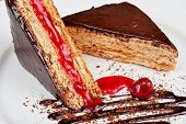 picture of cherry pie  - Esterhazy chocolate dessert pie with cherry jam decorated - JPG