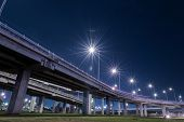 foto of lawn grass  - tollway express road with grass lawn in night scene - JPG