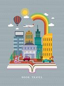 picture of suburban city  - open book with city street scene in flat design style - JPG