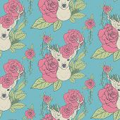 image of antlers  - elegant seamless pattern with deer antlers and roses over blue - JPG