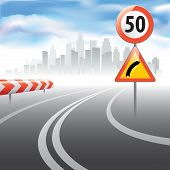 Постер, плакат: The Road With Speed Speed Limit Sign
