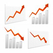 picture of positive negative  - set vector chart graph icon positive negative infographic layered - JPG