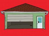 picture of windows doors  - Broken window of door in residential garage over red - JPG