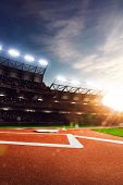 pic of arena  - Professional baseball grand arena in the sunlight - JPG