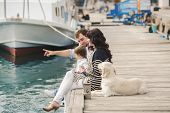 image of dock  - Young happy family - JPG