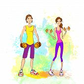 Постер, плакат: Sport couple man and woman hold dumbbells fitness trainer bodybuilder athletic muscle over colorful