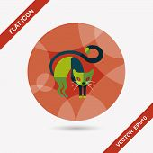 stock photo of evil  - Evil Cat Flat Icon With Long Shadow - JPG
