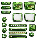 image of hunter  - Illustration of a set of various cartoon design ui military hunter and camo glossy elements including banners signs buttons load bar and app icon background for tablet pc - JPG