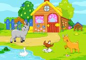 image of hen house  - Woody farm with cute animals - JPG