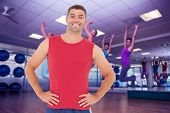 picture of zumba  - Composite image of fit man smiling at camera - JPG