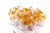 stock photo of quartz  - Lemon quartz isolated on white background close up - JPG